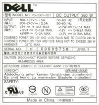 DELL model: PS-5361-1D układ pinów oraz napięcia na zasilaczu ?