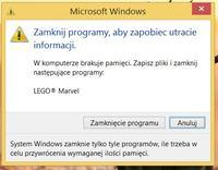 """Lenovo y580 - B��d: """"Zamknij programy aby zapobiec utracie informacji"""""""