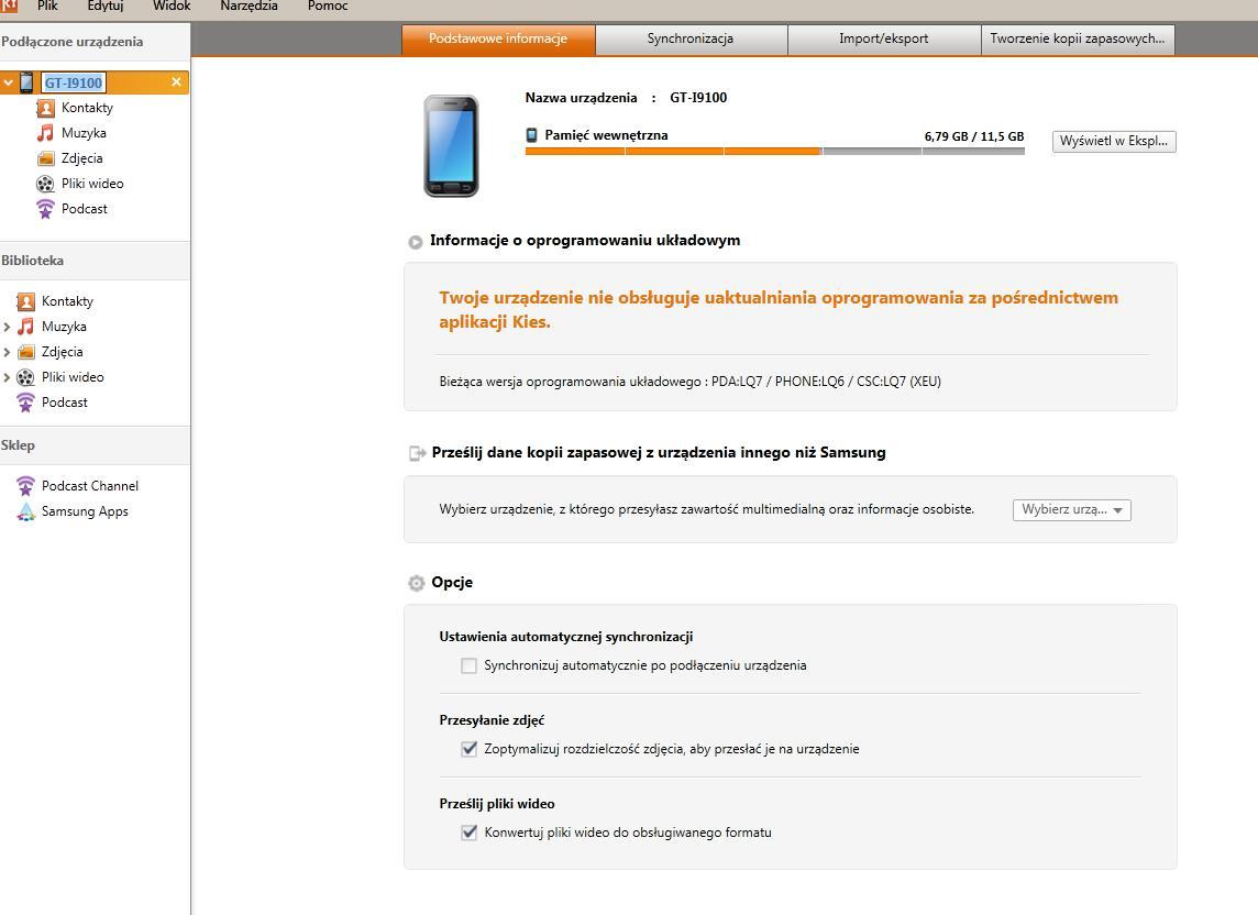 Samsung GT-I9100 - Nie mo�na po��czy� si� z programem Kies