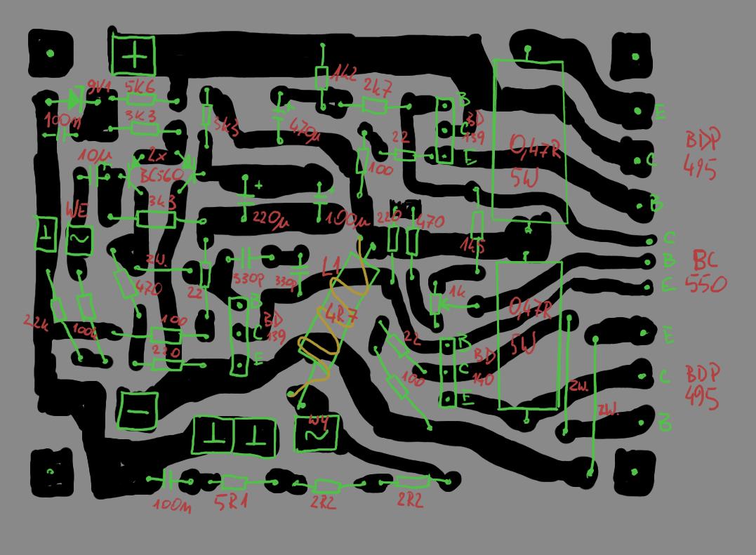 Wzmacniacz 100W na tranzystorach BDP495 - BARDZO wysoki pr�d spoczynkowy