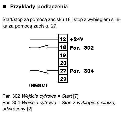 Ustawienie paramertów falownika danfos vlt 2800.