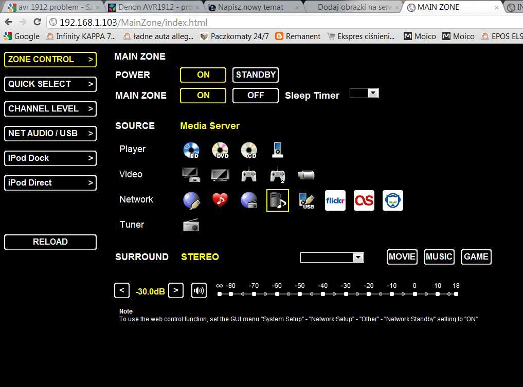 DENON AVR1912 - streaming audio przez sie�