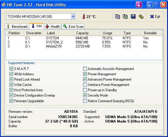 Dysk Toshiba MK4019GAX syczy ale dane ok?