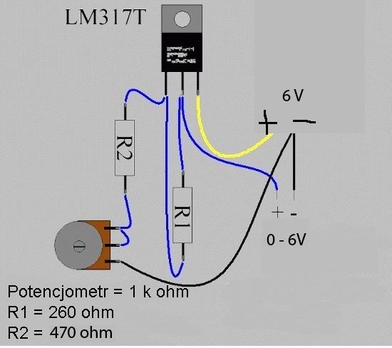 LM317 regulacja napi�cia od 0 do 6 V