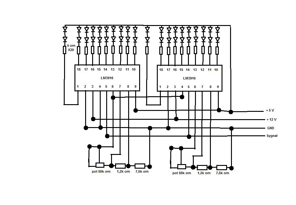 vu-meter schemat lm3916 20 led