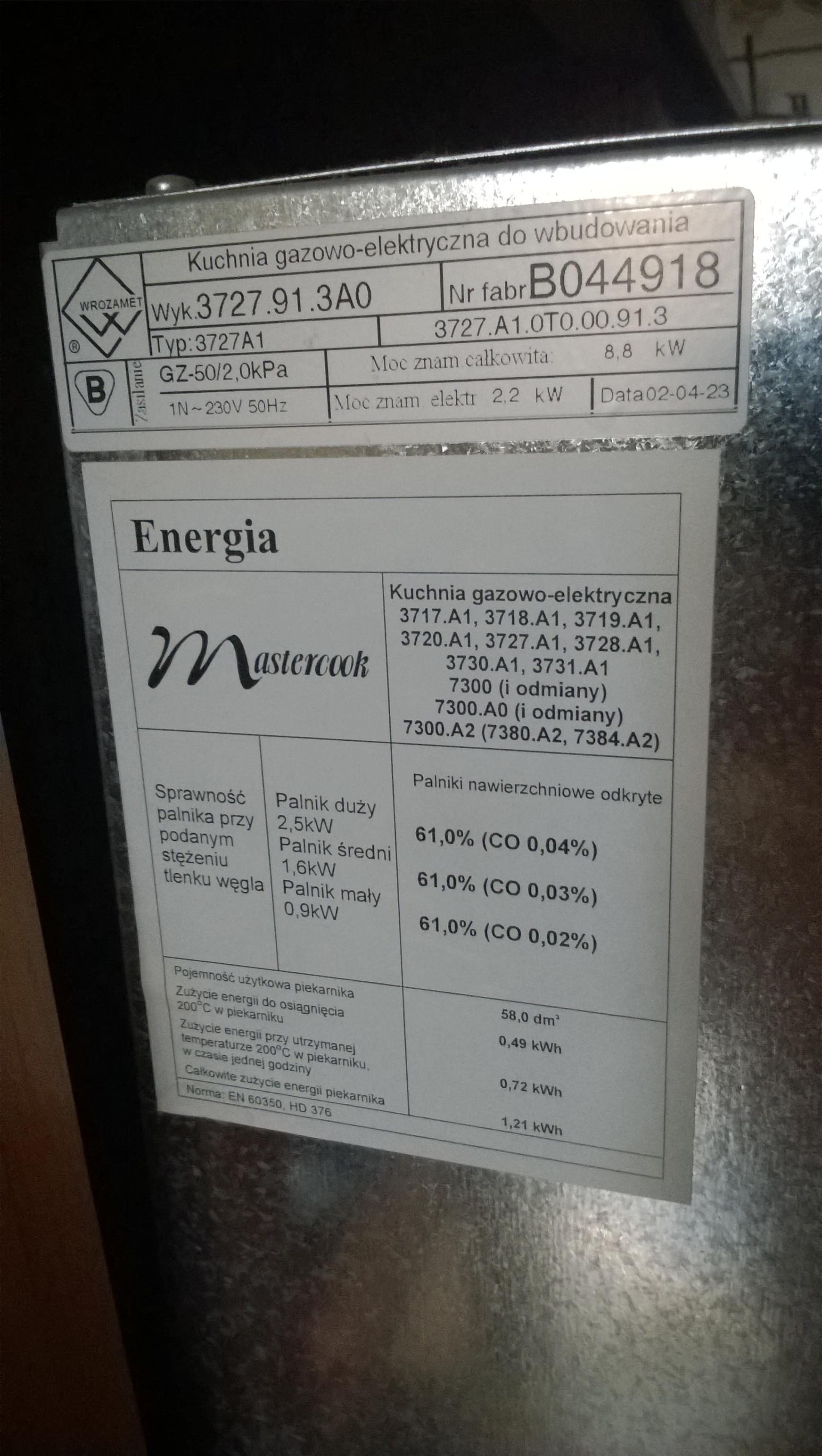[Kupi�] Szukam szyby zewn�trznej do Mastercook Elegance 3727.91.3A0