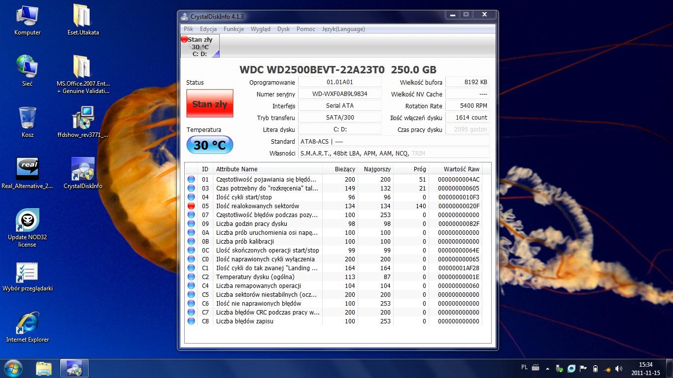 """Acer ASPIRE 5532 """"System Windows wykry� problem z dyskiem twardym"""""""