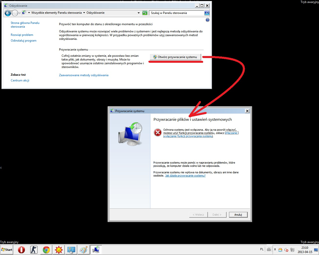 Windows 7 nie mozna przywr�ci� systemu
