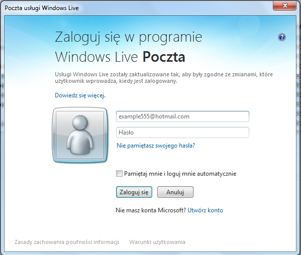"""Denerwuj�ca us�uga """"Zaloguj sie w programie Windows Live Poczta"""""""