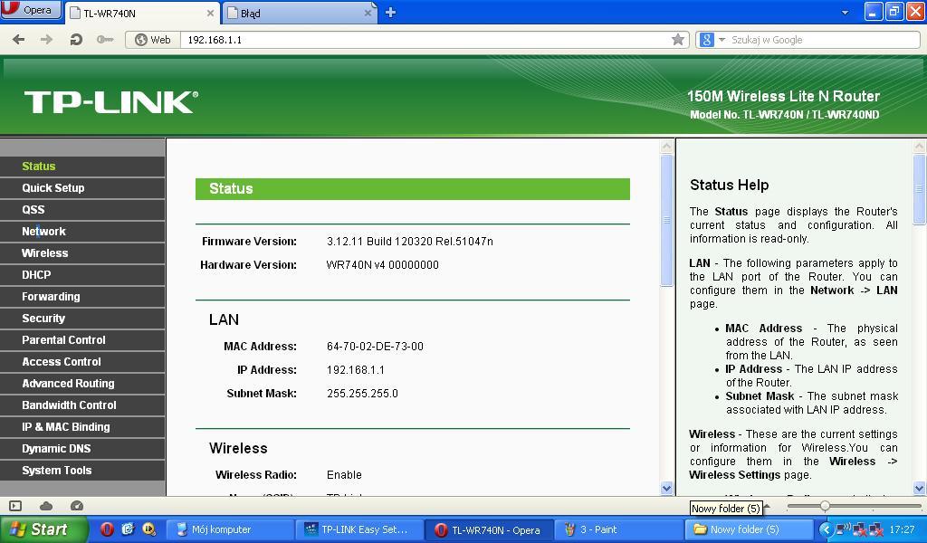 TP-Link TL-WR740N - Po wymianie routeru brak dostepu do internetu - Screeny