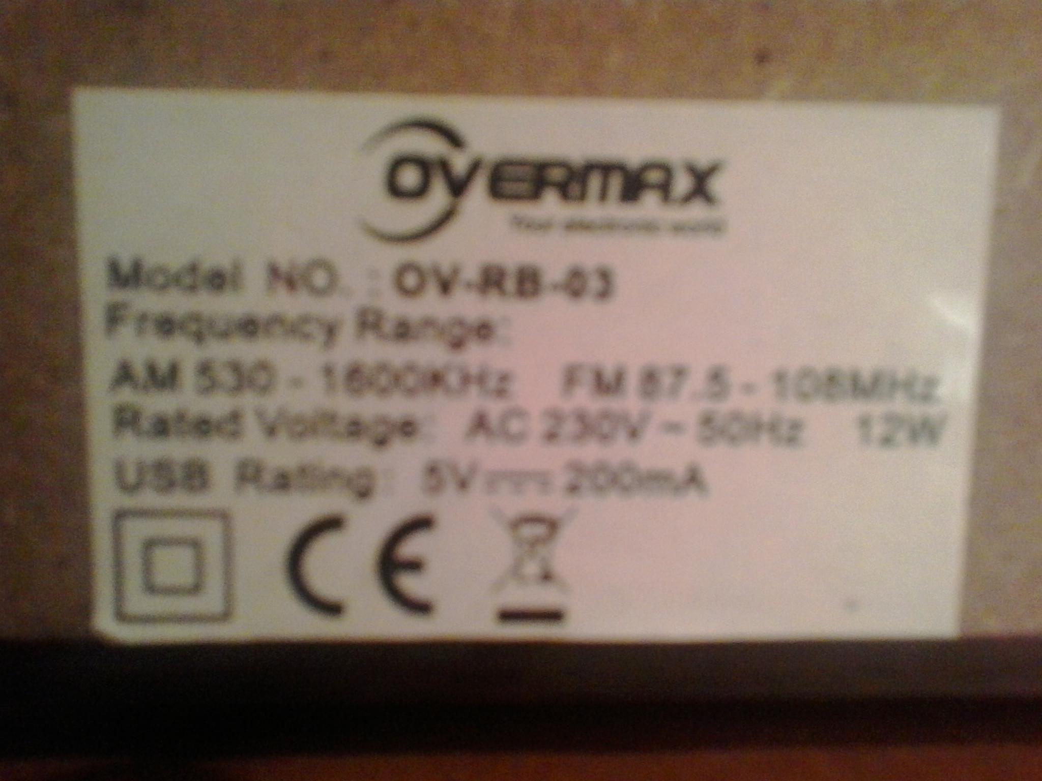 Overmax OV-RB-03 - Brak mo�liwo�ci zmiany zakresu fal fm