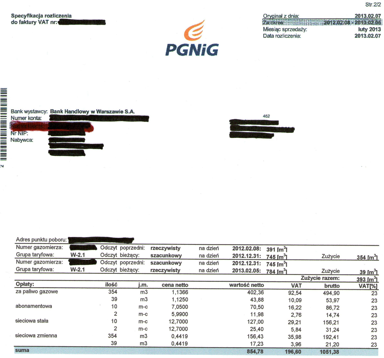 Gaz ziemny - Ceny gazu w roku 2013