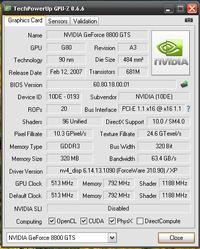 gigabayte geforce 8800 gts  - openGL
