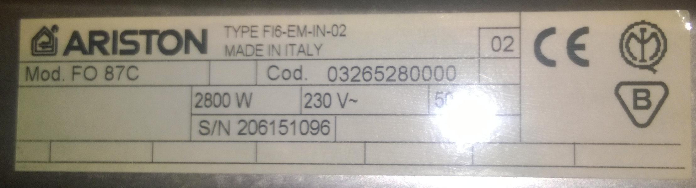 Ariston FO 87C - wymiana prze��cznika/selektora