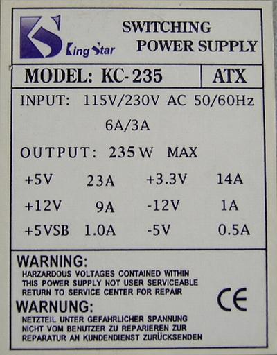 King Star model: KC-235ATX zaniżone napięcie -12V i -5V?