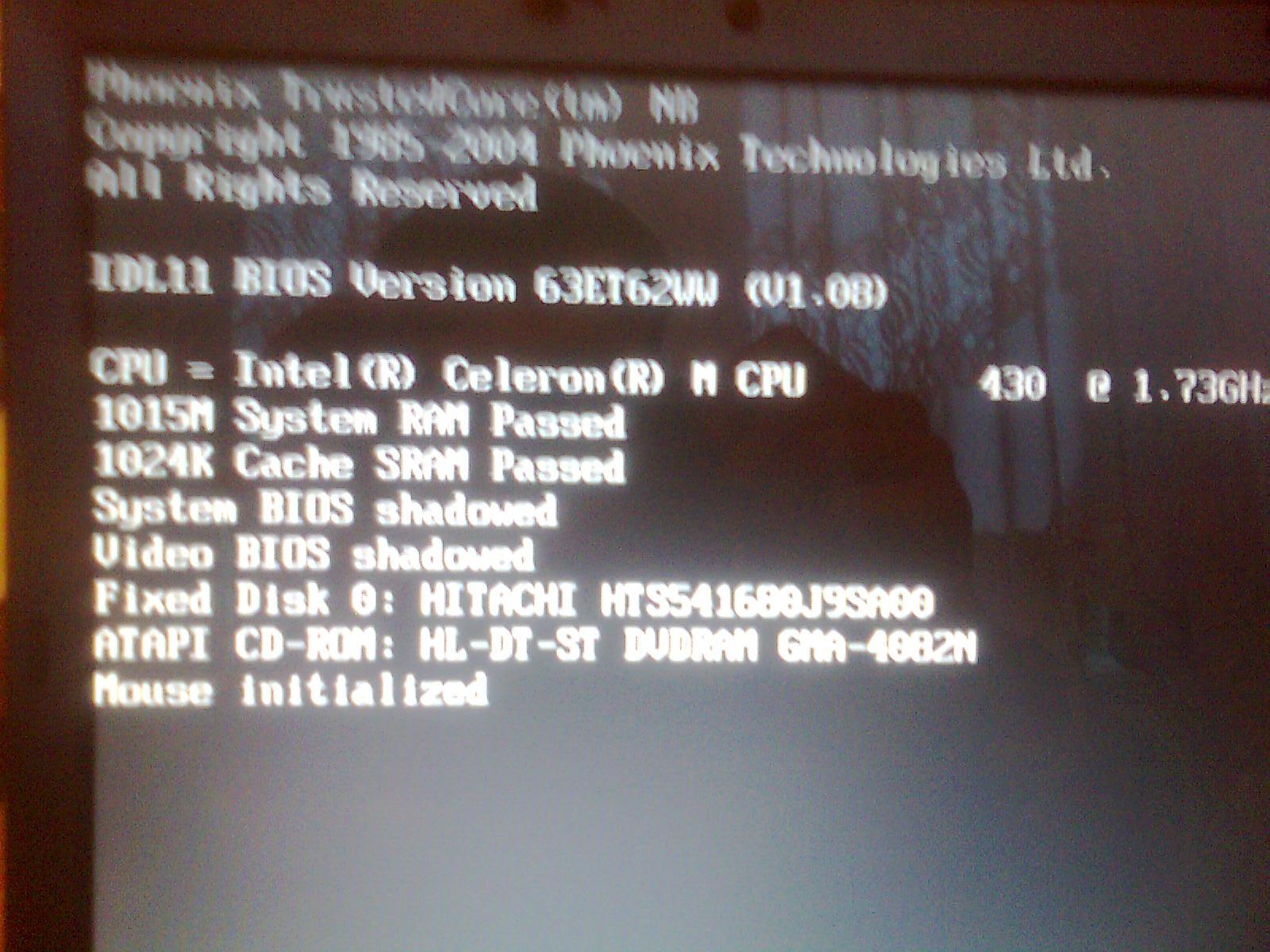 Lenovo 0768- po restarcie za��cza si� tylko strona startowa.