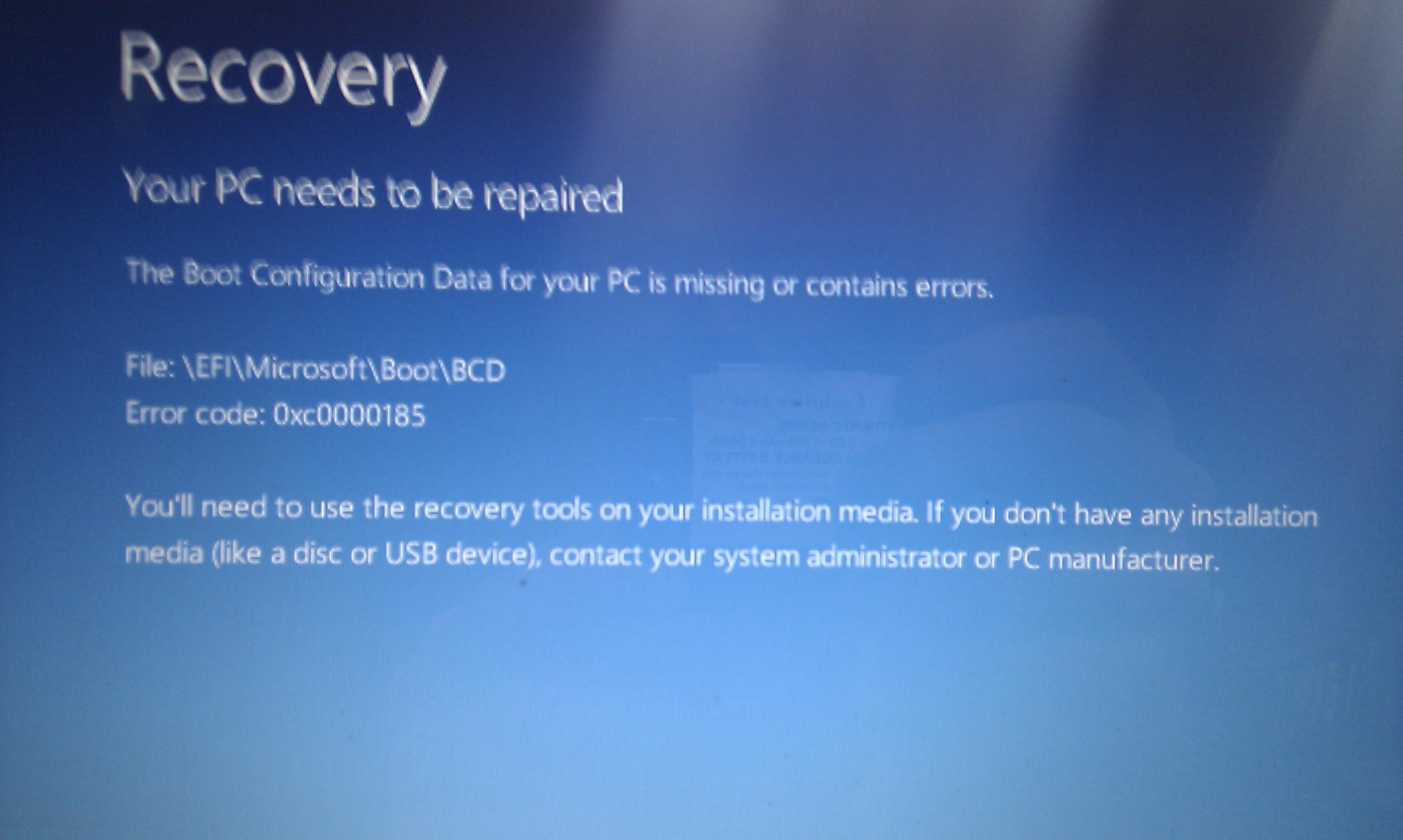 Gateway NE51B10u - Error 0xc0000185