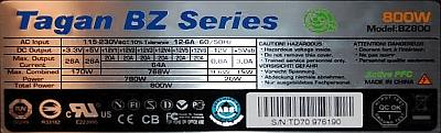 Tagan Series BZ model: BZ800W - Start zasilacza