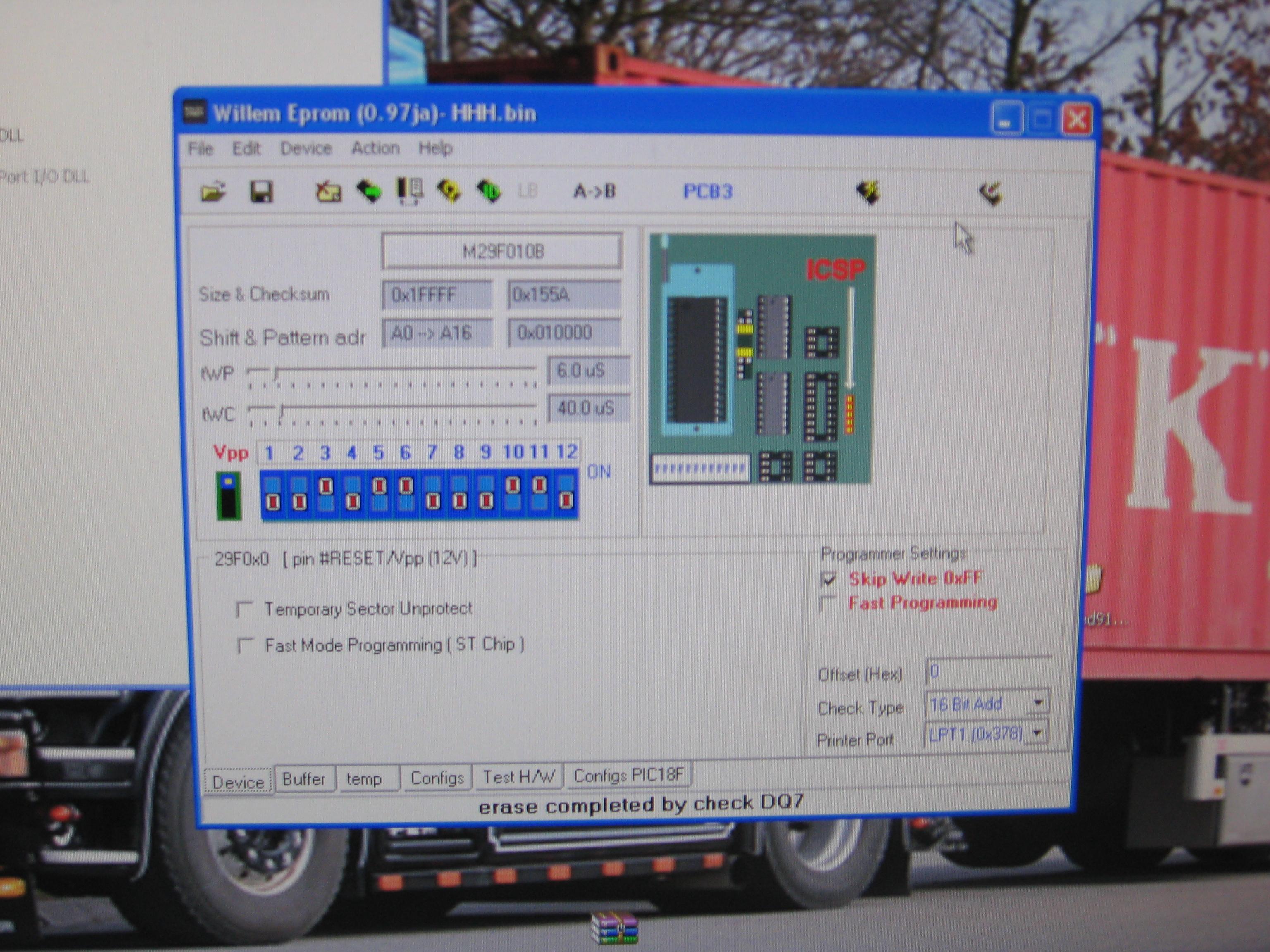willem pcb3 am29f010b - pr�ba odczytu id oraz zaprogramowania