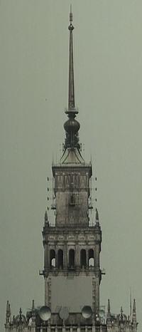 Stare zdjęcia PKiN - całego PKiN, iglicy PKiN, oraz miejsca gdzie wisi zegar