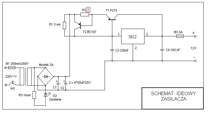 Zasilacz 12V stabilizowany schemat i p�ytka.