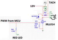 MCU + 12V N-MOS + PWM i wentylator od PC = spadają obroty po podpięciu TACH