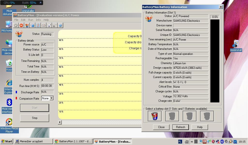 netbook samsung n150 - Bateria w lapku si� nie �aduje