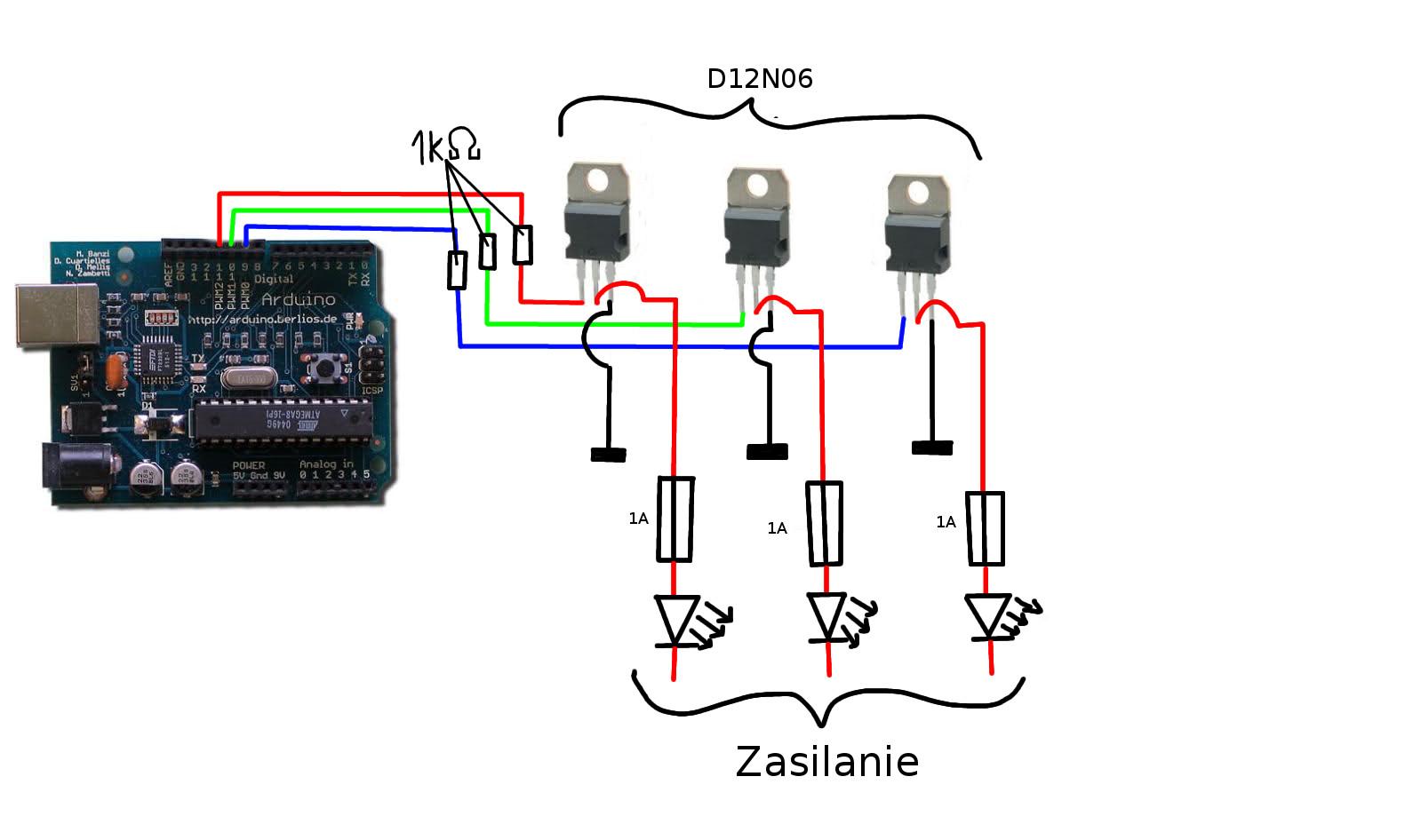 Sterowanie watową led za pomocą pwm z arduino