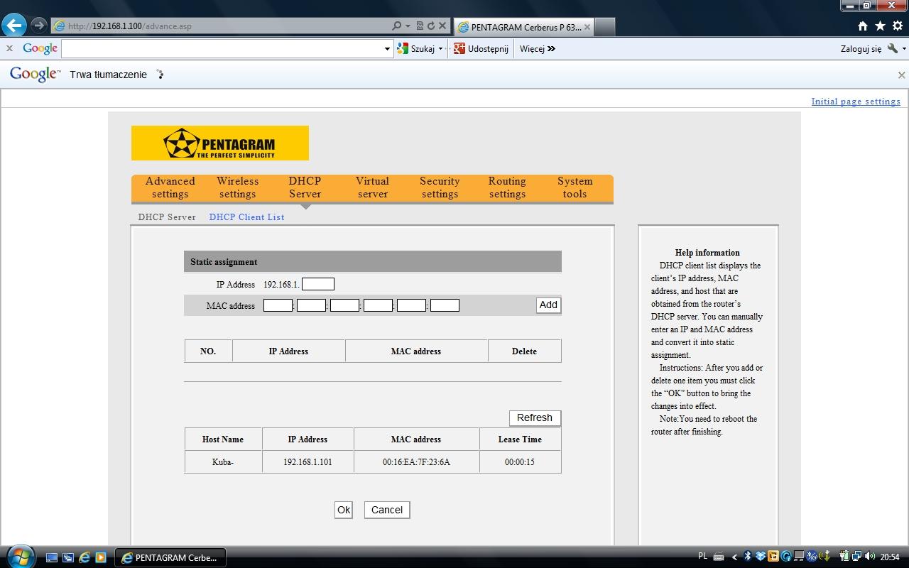 Pentagram Cerberus P 6369 - konfiguracja routera po pod��czeniu do Liveboxa