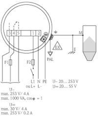 Podłączenie sondy pojemnościowej FTC 262 firmy Endress+Hauser.