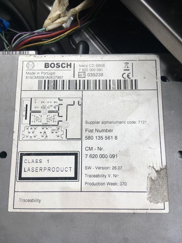 Bosch iveco daily - Proszę o rozkodowanie radia samochodowego