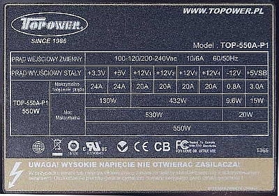 Topower model: TOP-550A-P1 - niestabilne +5VSB.