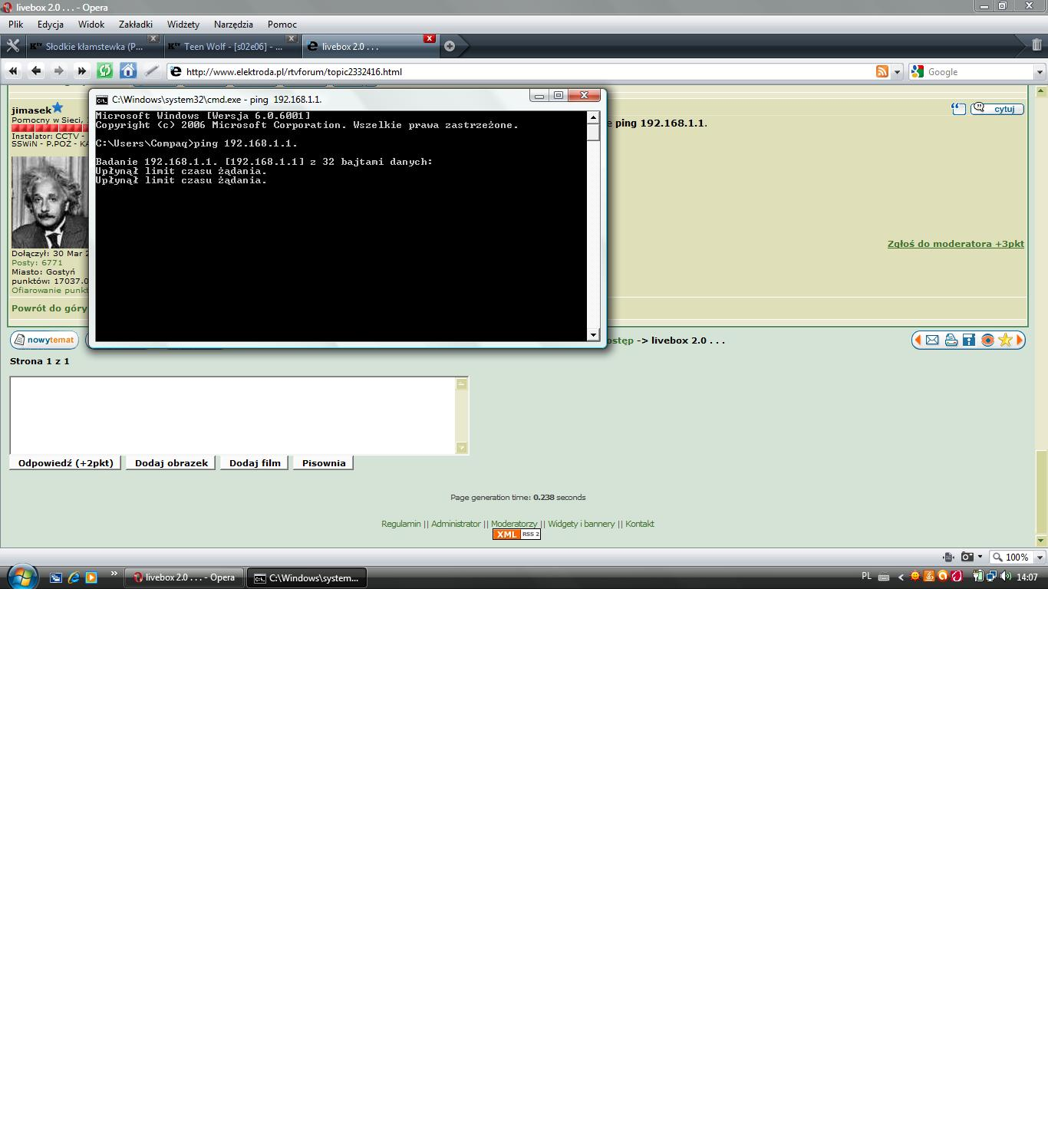 Livebox 2.0 - problem z po��czeniem