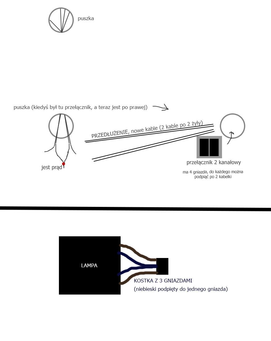 przelacznik 2 kanalowy a podlaczenie lampy