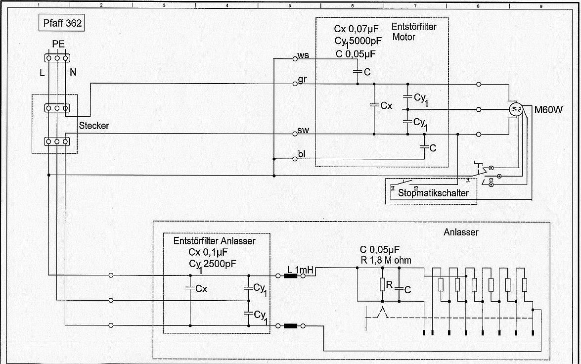 maszyna do szycia PFAFF  - spalony filtr silnika