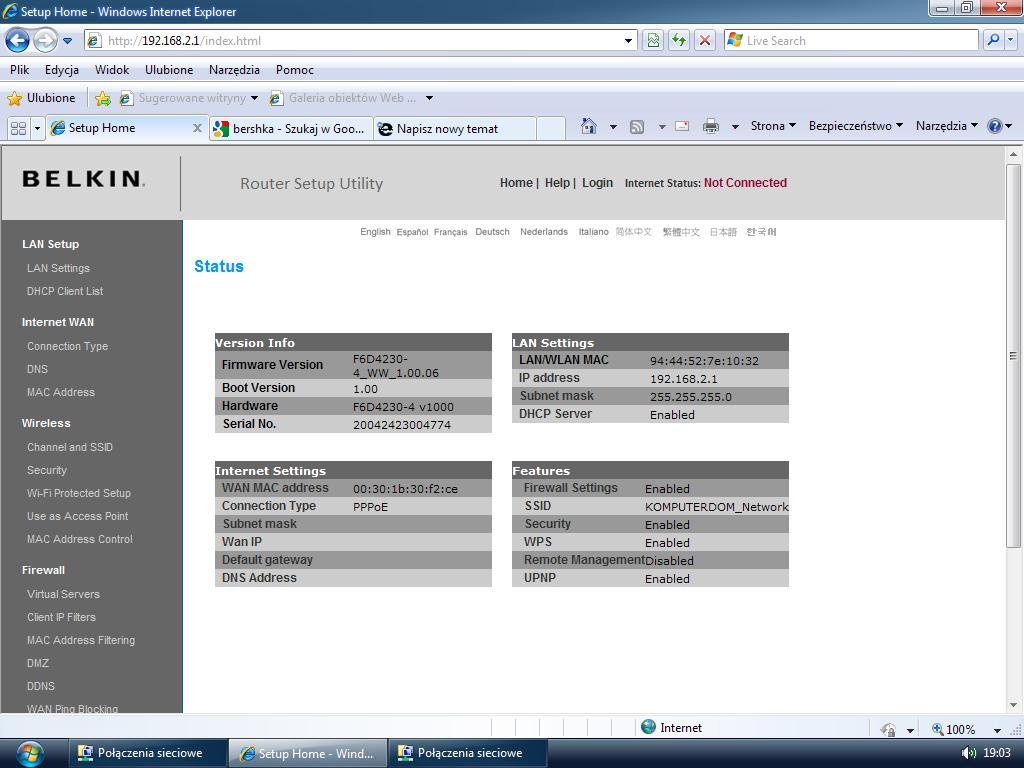 Router Belkin F6D4230-4 v1 konfiguracja