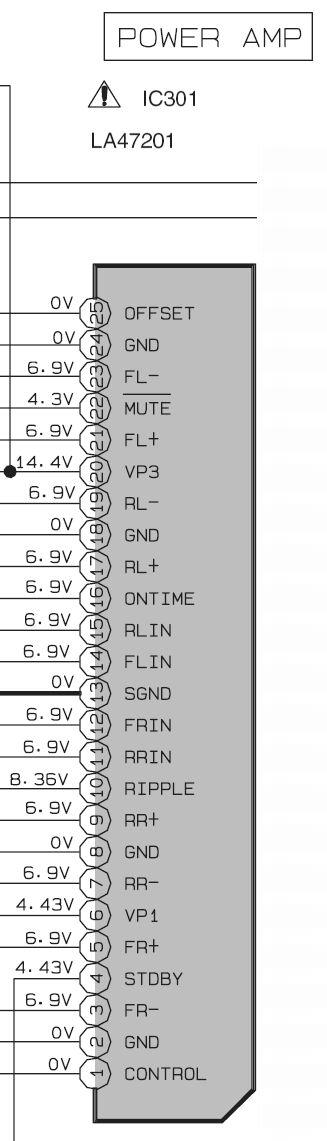 Końcówka mocy, układ IC301 to LA47201.  Diagram końcówki mocy : Temat odnośnie końcówki...