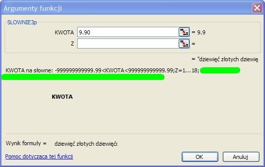 Konwersja - cyfra => tekst - Excel ?
