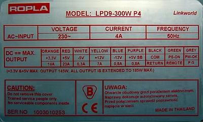 Ropla model: LPD9-300W P4 - Za du�e napi�cie na linii +12V.