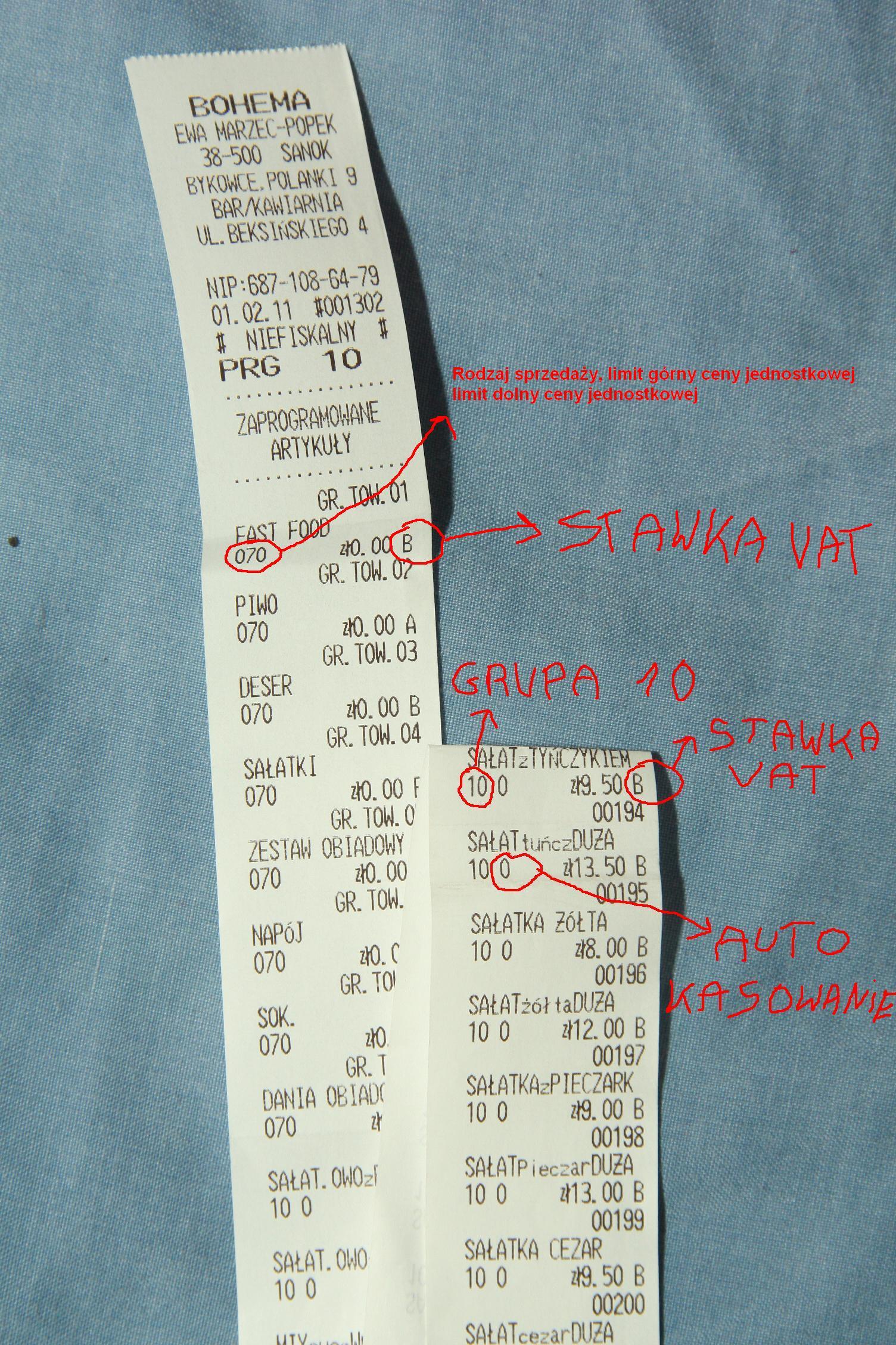 Kasa fiskalna sharp ER A227p stawki VAT.