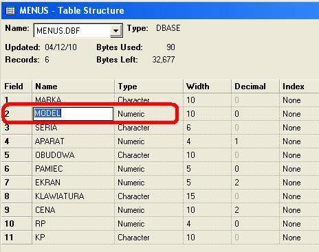 Stworzenie bazy danych w dBase