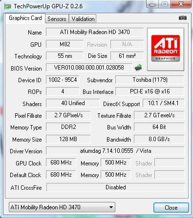 ATI Mobility Radeon HD 3470 - Default Clock inny ni� GPU Clock w GPU-Z
