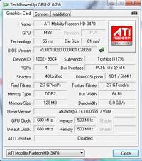 ATI Mobility Radeon HD 3470 - Default Clock inny niż GPU Clock w GPU-Z