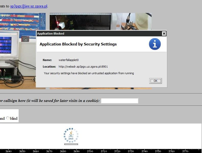blokowanie strony z apletem Java