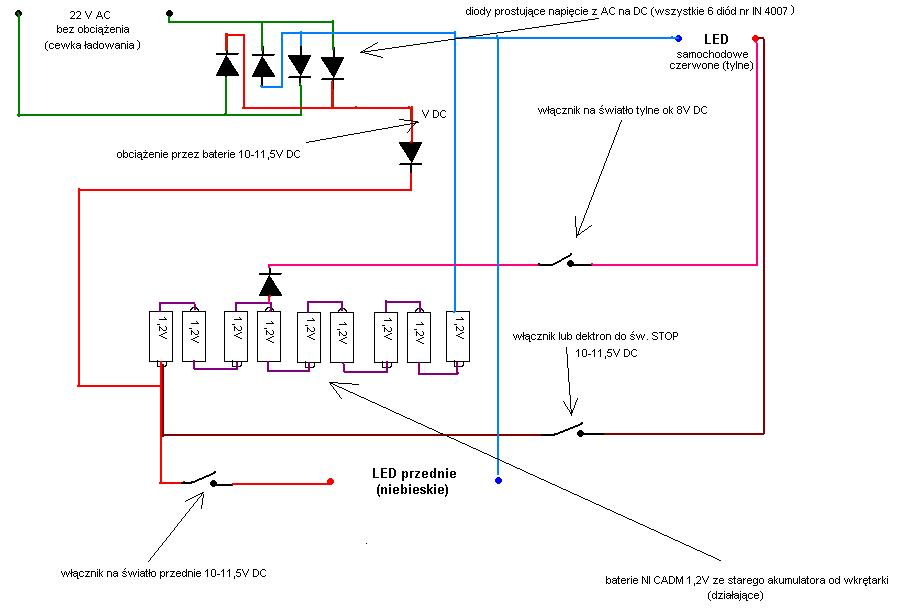 Podnoszenie napi�cia pr�du sta�ego 6V na 12V do diod LED