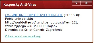 Pomoc w zdiagnozowaniu wirusa na stronie internetowej.