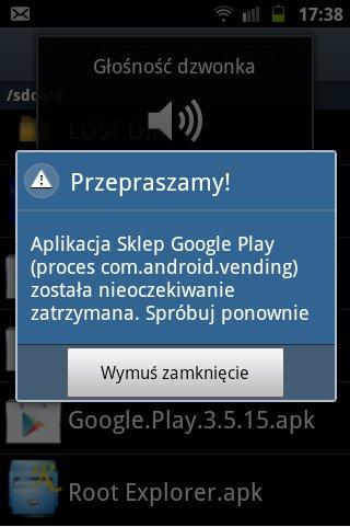 Aplikacja Sklep Google Play nie dzia�a.Samsung Galaxy mini 2