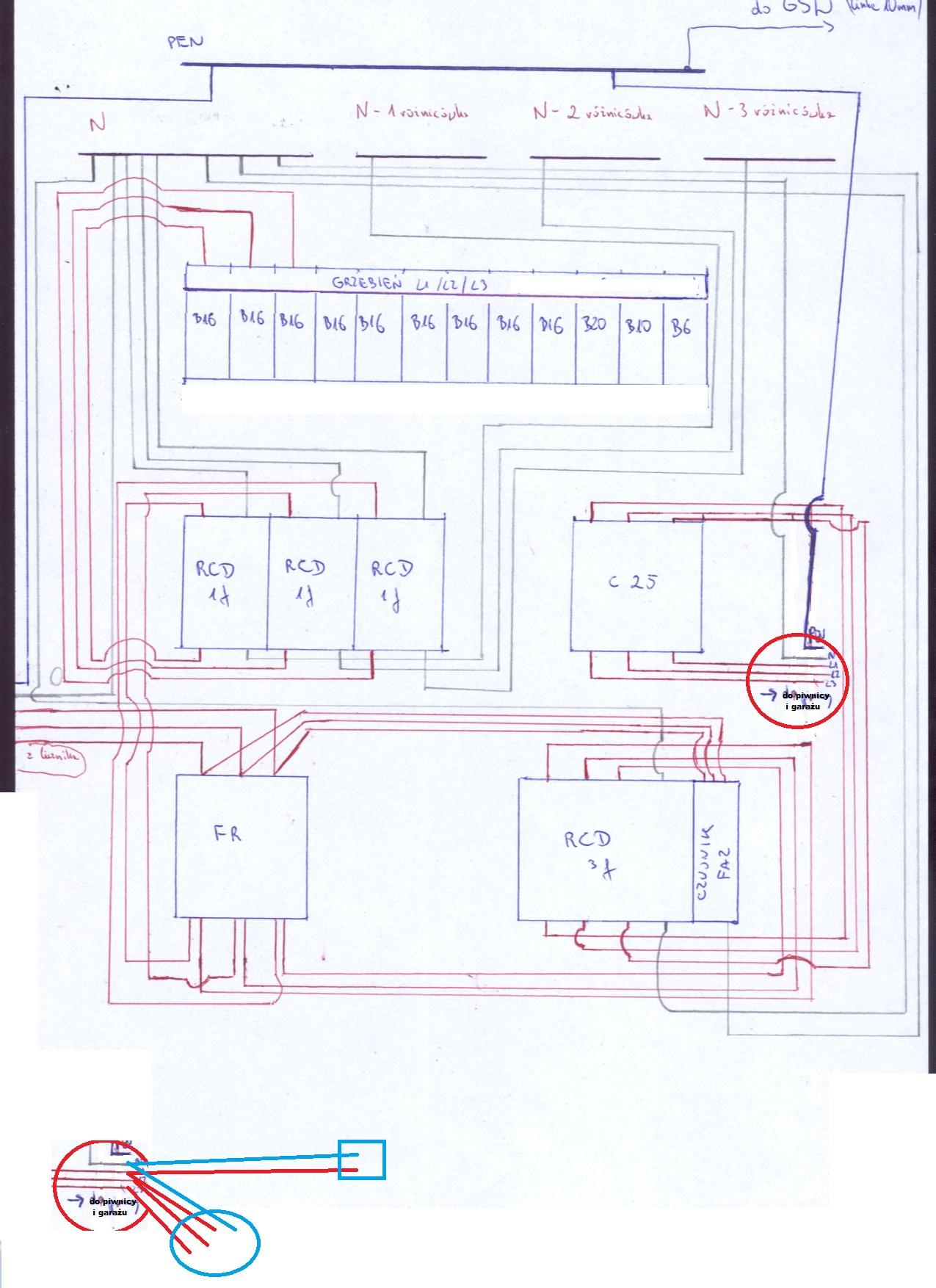 Wymiana instalacji - Gniazdo jednofazowe na r�nic�wce trzyfazowej