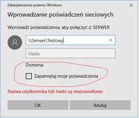 Windows - Logowanie do udziału vs zablokowanie zapamiętywania hasła