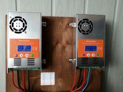 Dwa regulatory ładowania pod jeden akumulator.